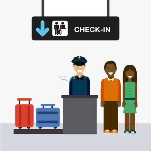 600x600 Airport Security Character Items Vector Material, People Items