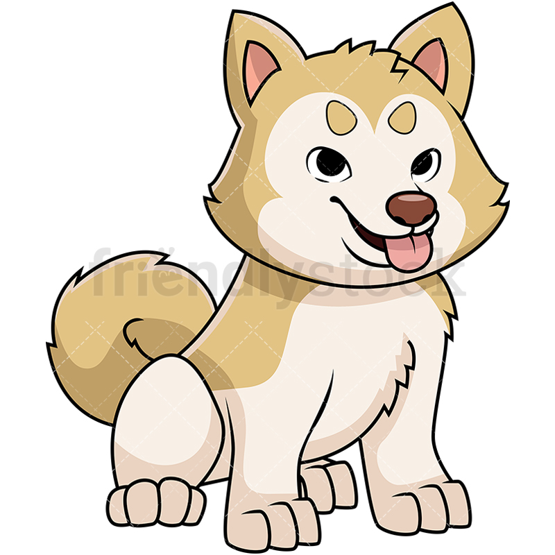 800x800 Akita Puppy Sticking Tongue Out Cartoon Vector Clipart