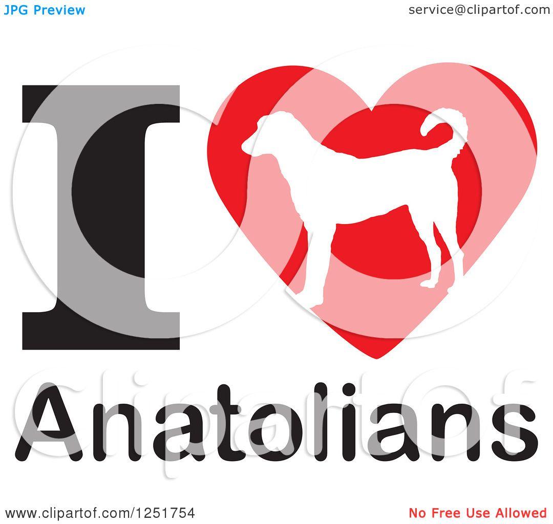 1080x1024 Clipart Of An I Heart Anatolians Dog Design