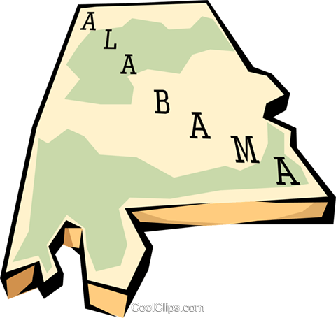 480x455 Alabama State Map Royalty Free Vector Clip Art Illustration