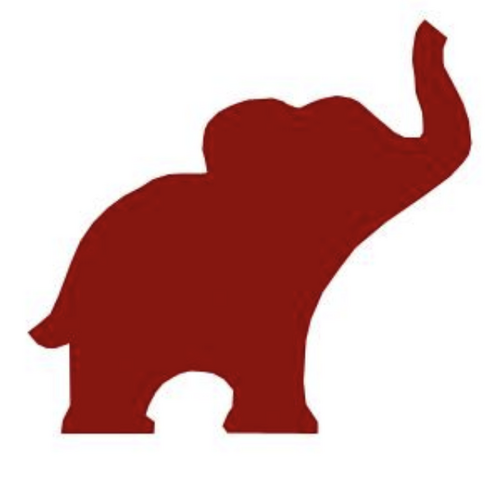 500x495 Elephant Red Outline Clipart