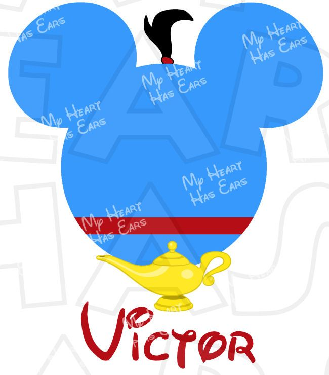 650x740 Genie From Aladdin Mickey Mouse Ears Head Instant Download Digital