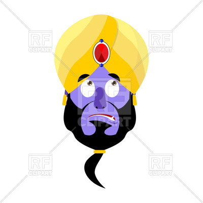 400x400 Genie Head With Turban On White Background Royalty Free Vector