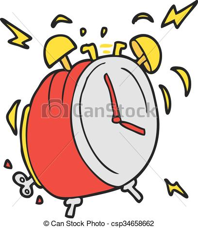 408x470 Freehand Drawn Cartoon Ringing Alarm Clock Clip Art Vector