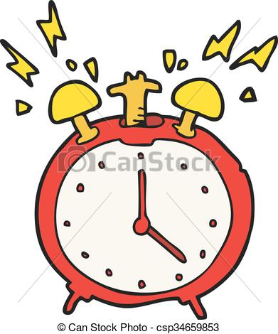 391x470 Freehand Drawn Cartoon Ringing Alarm Clock Clipart Vector
