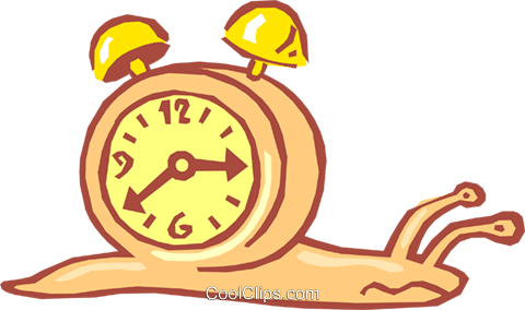 480x284 Snail With Alarm Clock On Back Royalty Free Vector Clip Art