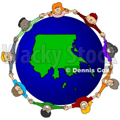 400x400 Royalty Free (Rf) Clipart Illustration Of A Circle Of Children