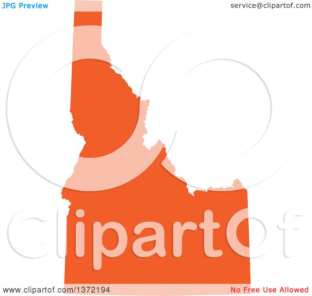 1080x1024 Clipart Of An Orange Silhouetted Map Shape Of The State Of Idaho