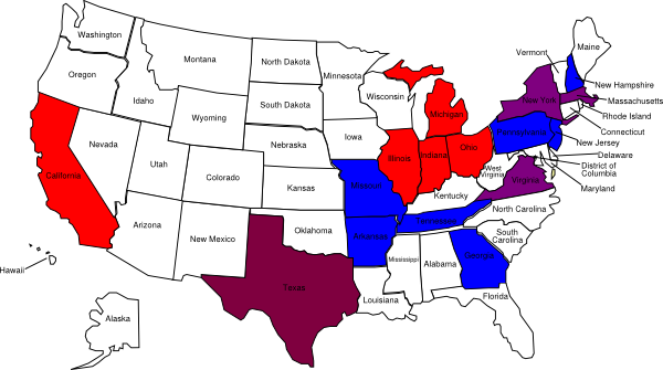 600x335 Us Color Map With State Names Clip Art
