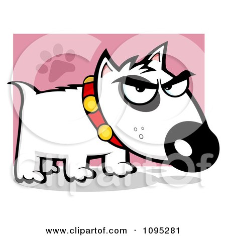 450x470 Clipart Mean White Bull Terrier Doggy