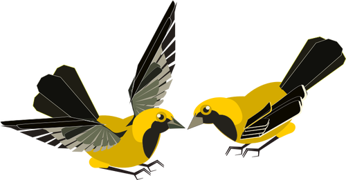 500x261 Vector Clip Art Of Yellow And Black Bird 1a Public Domain Images