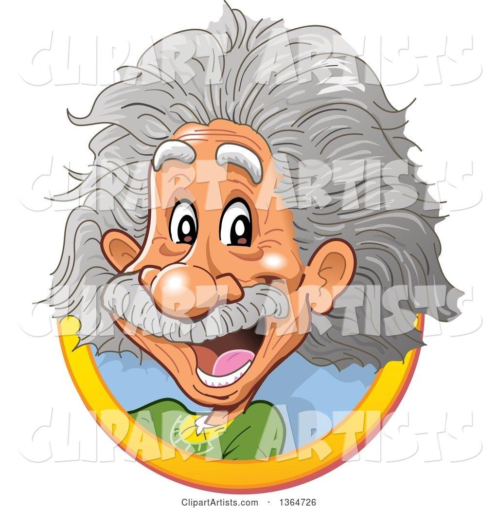 1024x1044 Cartoon Happy Albert Einstein Vignette Clipart By Clip Art Mascots