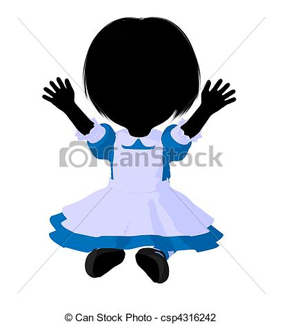 409x470 Little Alice In Wonderland Silhouette. Little Alice In Clip Art