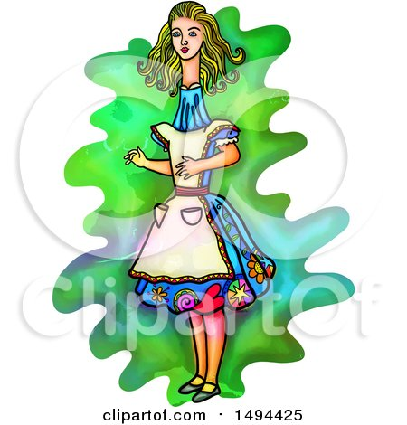 450x470 Clipart Of A Watercolor Styled Alice In Wonderland With A Long