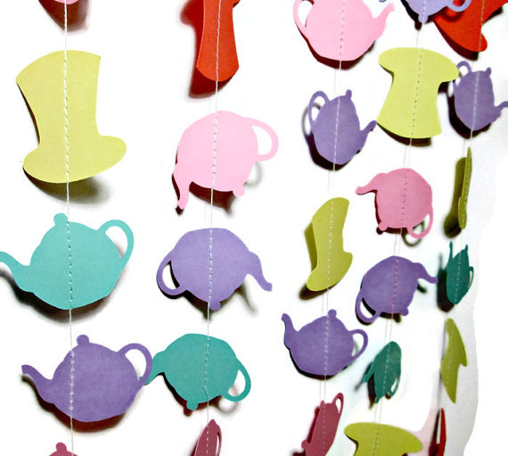 570x511 Mad Hatter, Alice In Wonderland, Tea Party Garland, Tea Kettle