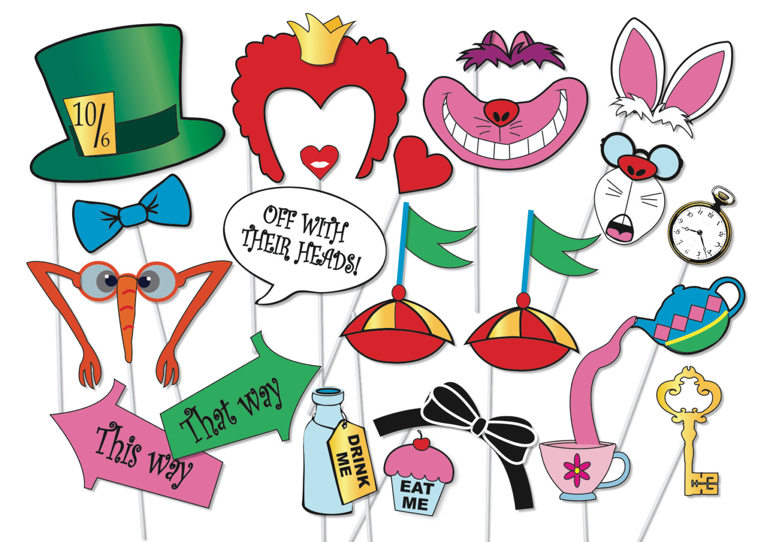 1500x1061 Mad Hatter Tea Party Photo Booth Props Set 20 Piece