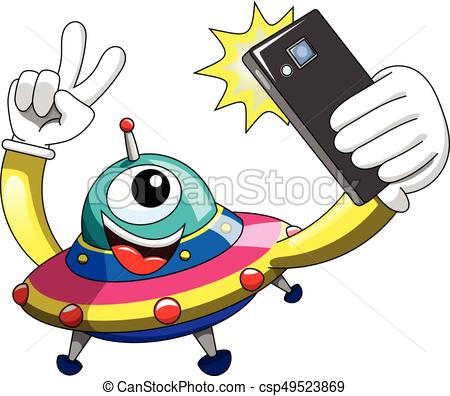 450x396 Cartoon Alien Ufo Spaceship Selfie Smartphone Isolated. Cartoon