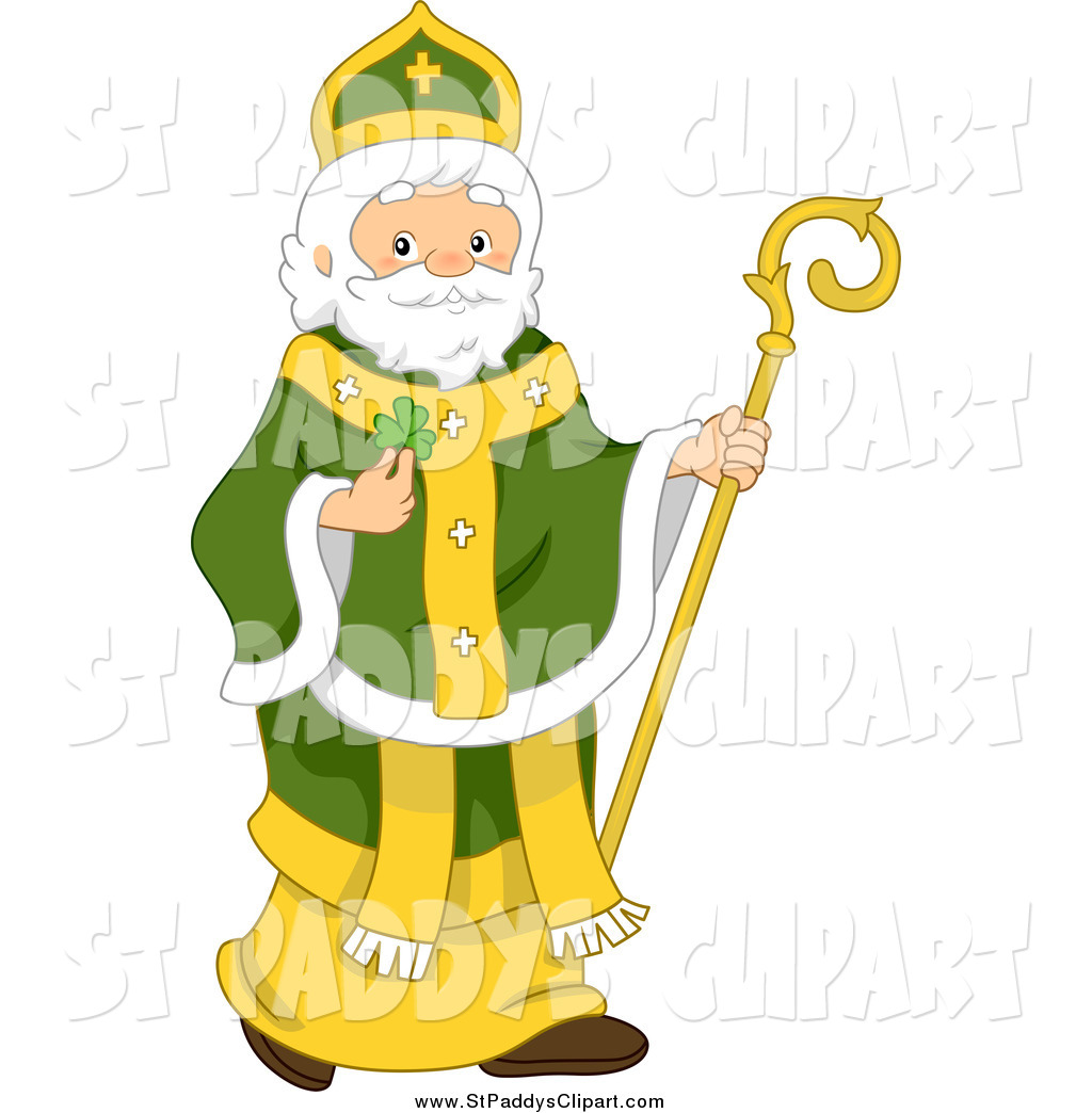 1024x1044 Vector Clip Art Of A St Paddys Day St Patrick Holding A Clover