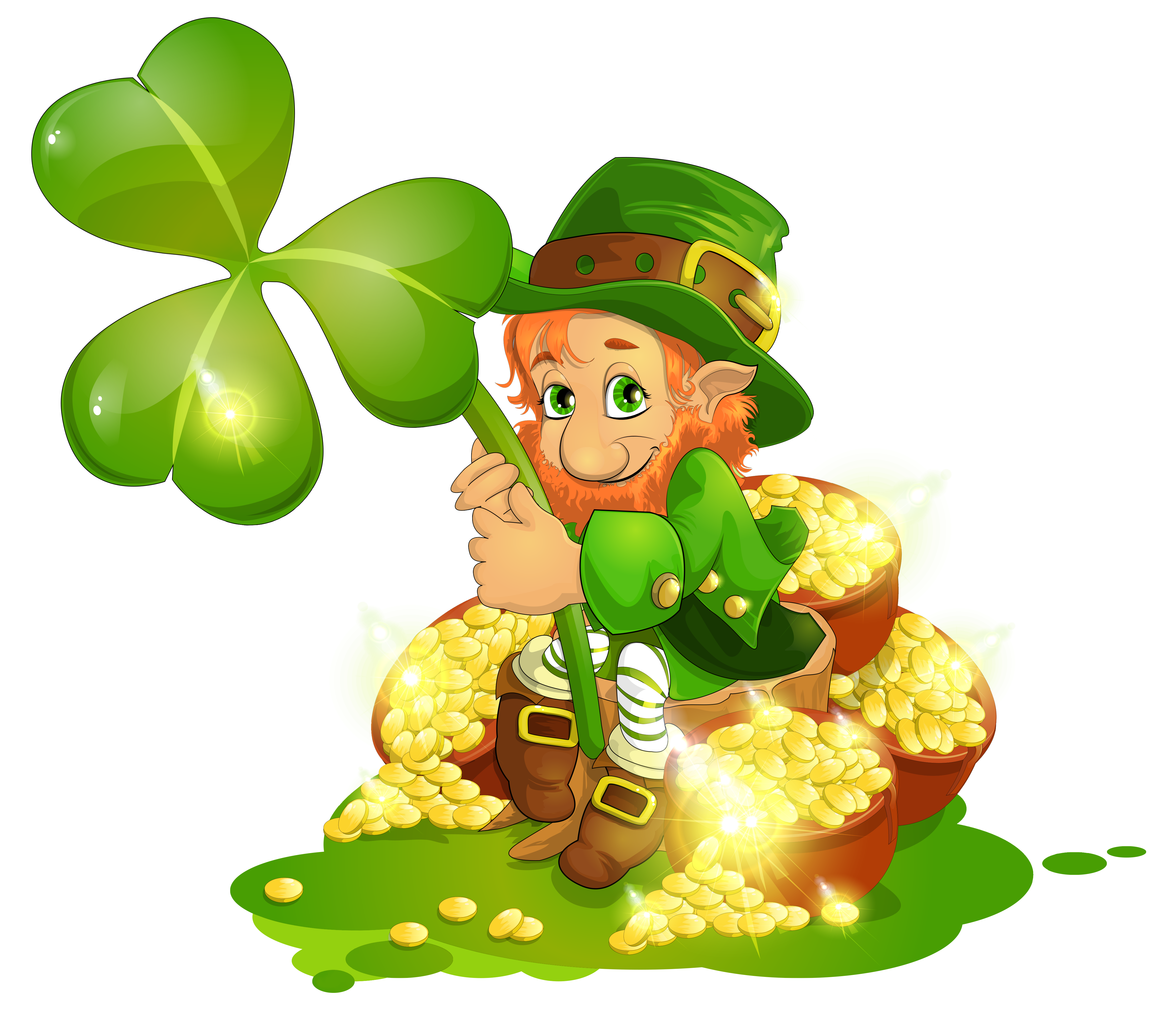 4642x4039 Saint Patrick's Day Leprechaun With Pot Of Gold And Shamrock Png