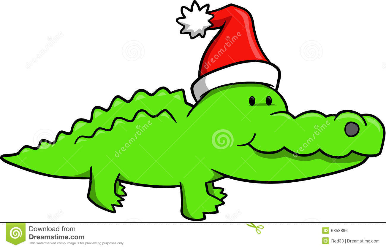 1300x840 Christmas alligator clipart