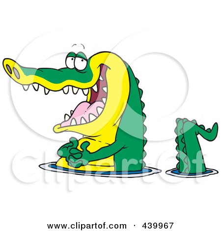 450x470 Royalty Free (RF) Clip Art Illustration of a Cartoon Alligator