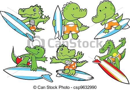 450x314 Surfing alligator summer vector set.