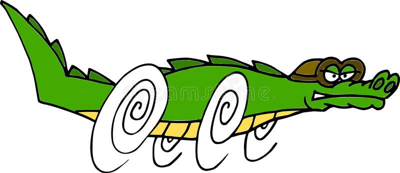 800x346 Vector Of A Drooling Cartoon Alligator Running Really Fast With An