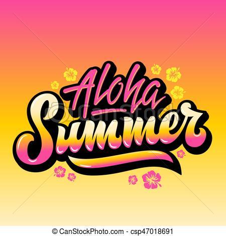 450x470 Aloha Summer Abstract Vector Hand Lettering Greeting Gard, Eps