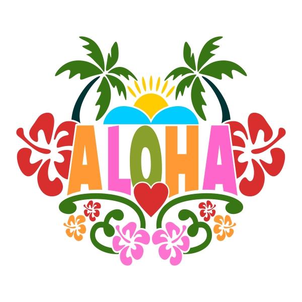 600x600 Aloha Clipart Colorful Aloha Cuttable Design Classroom Clipart