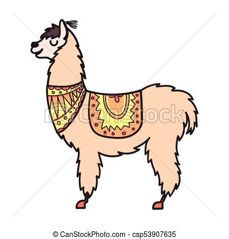 450x470 Vector, Isolated Outline Cartoon Baby Llama. Hand Drawn Peru