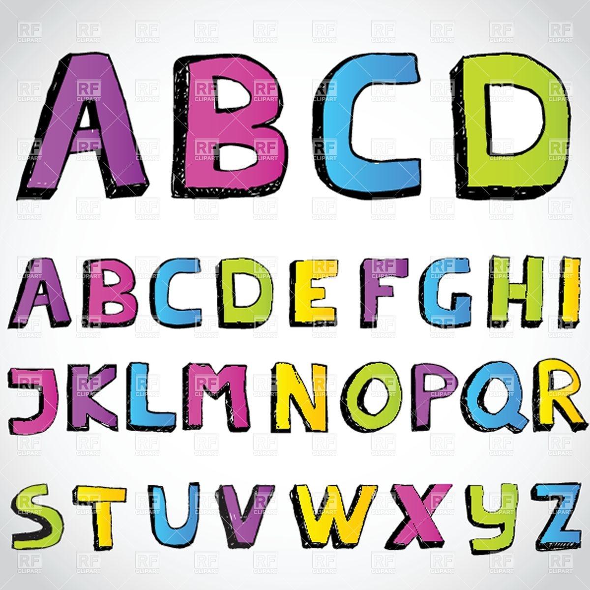 1200x1200 Grunge, Cartoon Hand Drawn Alphabet Royalty Free Vector Clip Art