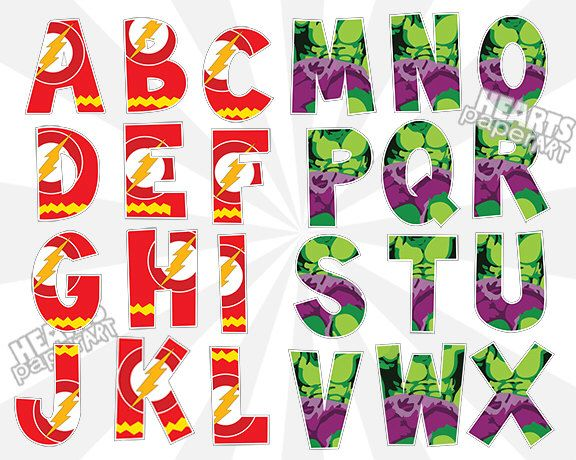 576x460 Flashman And The Hulk Alphabet And Number Clip Art Set