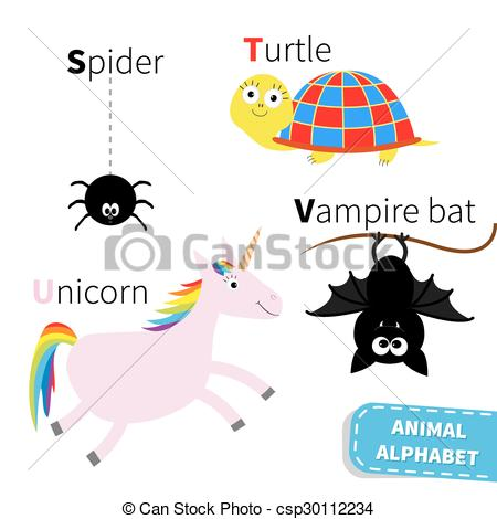 450x470 Letter S T U V Spider Turtle Unicorn Vampire Bat Zoo Vectors