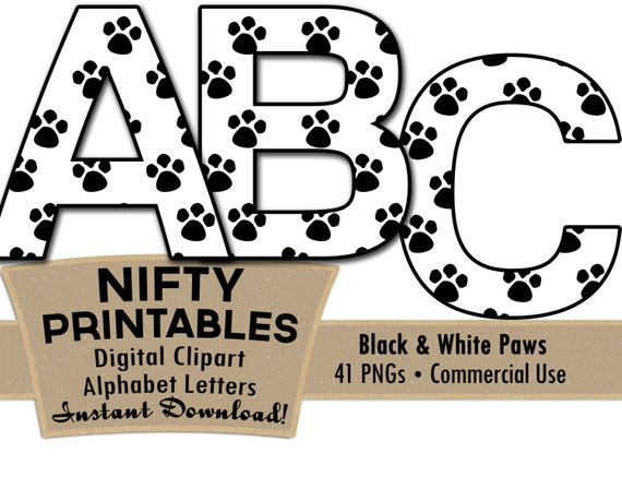 570x437 Paw Prints Alphabet Letters Set