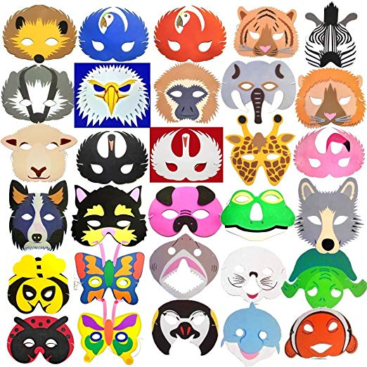 522x522 30 Animal Childrens Foam Masks