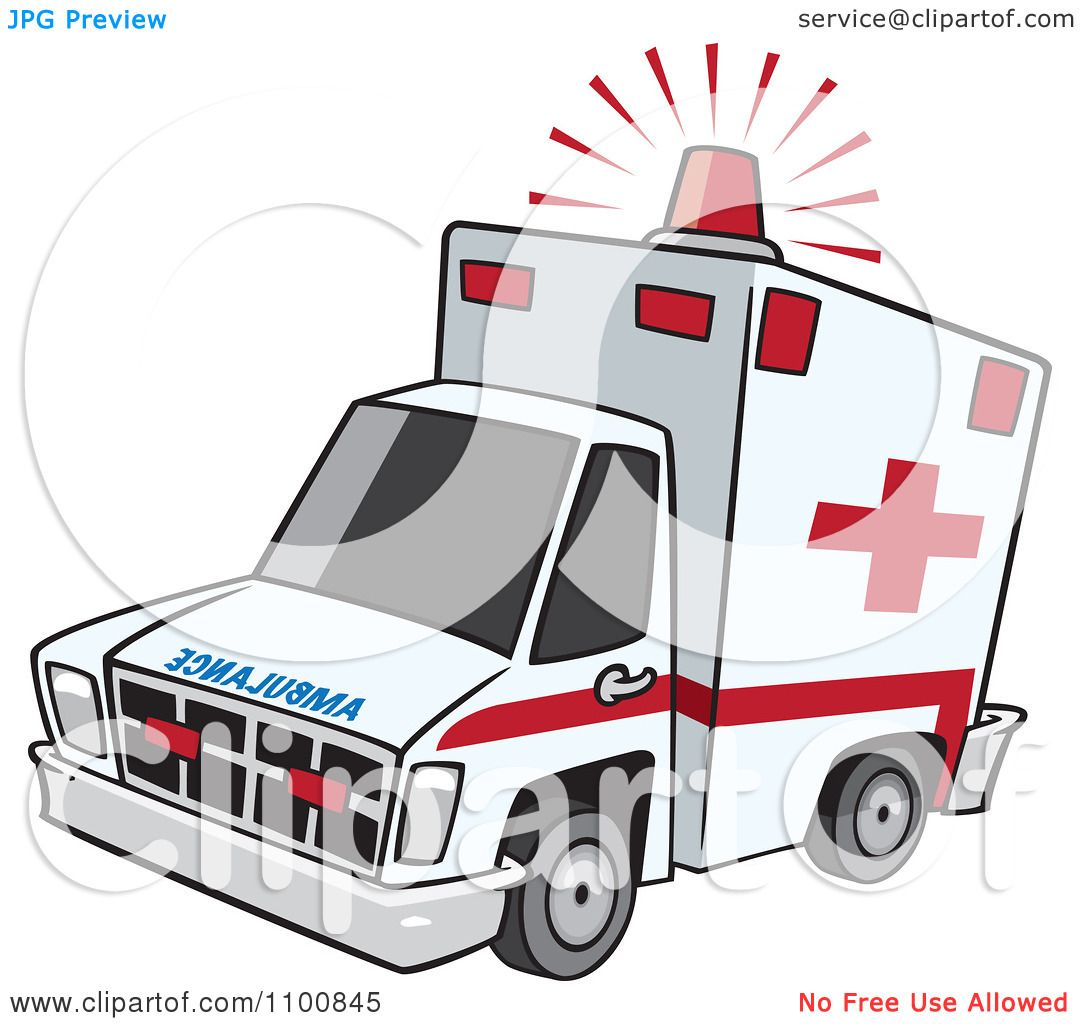 1080x1024 Clipart Emergency Ambulance With Lit Siren Light