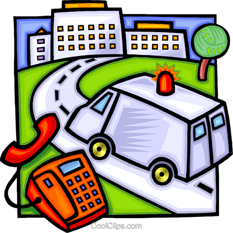 480x480 Ambulance Rushing To The Hospital Royalty Free Vector Clip Art