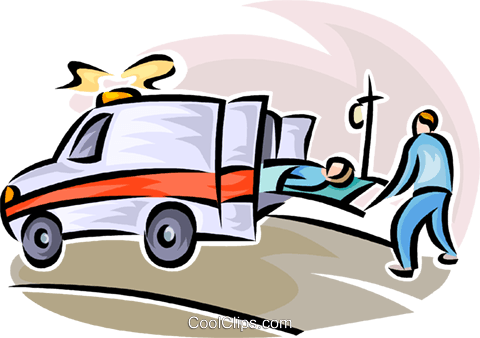 480x338 Person Being Loaded Into An Ambulance Royalty Free Vector Clip Art