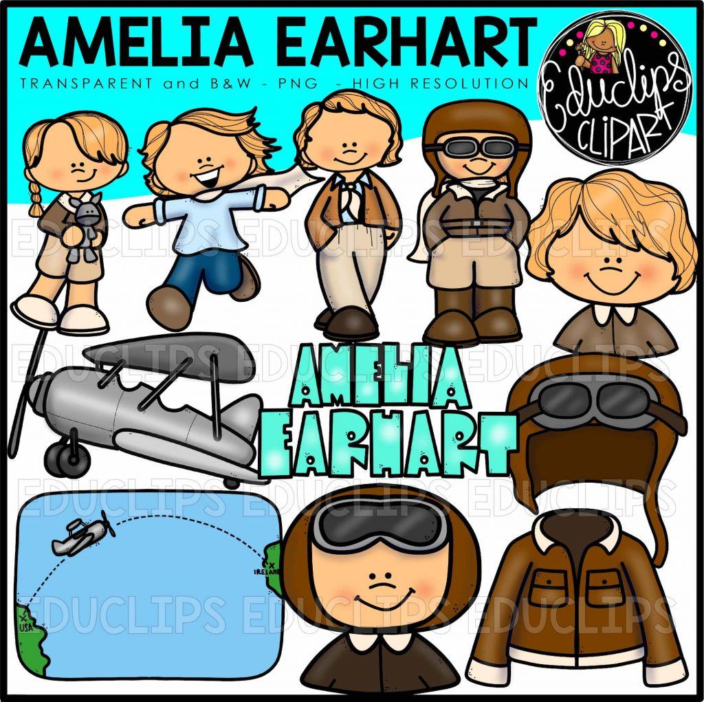 1024x1021 Amelia Earhart Clip Art Bundle (Color And Bampw)