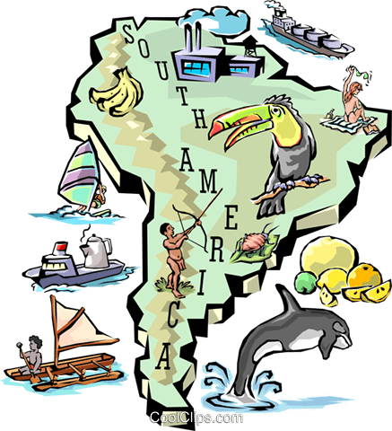 437x480 South America Map Royalty Free Vector Clip Art Illustration