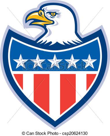 381x470 American Bald Eagle Flag Shield Retro. Illustration