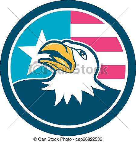 450x470 American Bald Eagle Head Flag Side Cartoon. Illustration
