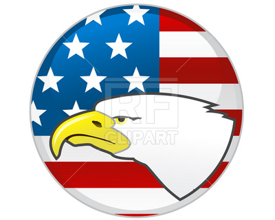 400x320 Badge With Eagle And American Flag Royalty Free Vector Clip Art