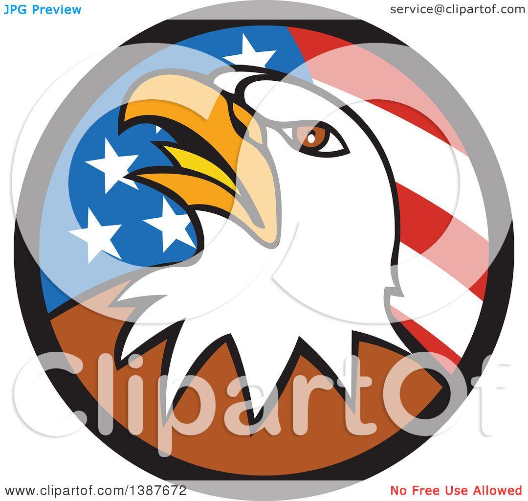 1080x1024 Clipart Of A Cartoon Bald Eagle Head In An American Flag Circle