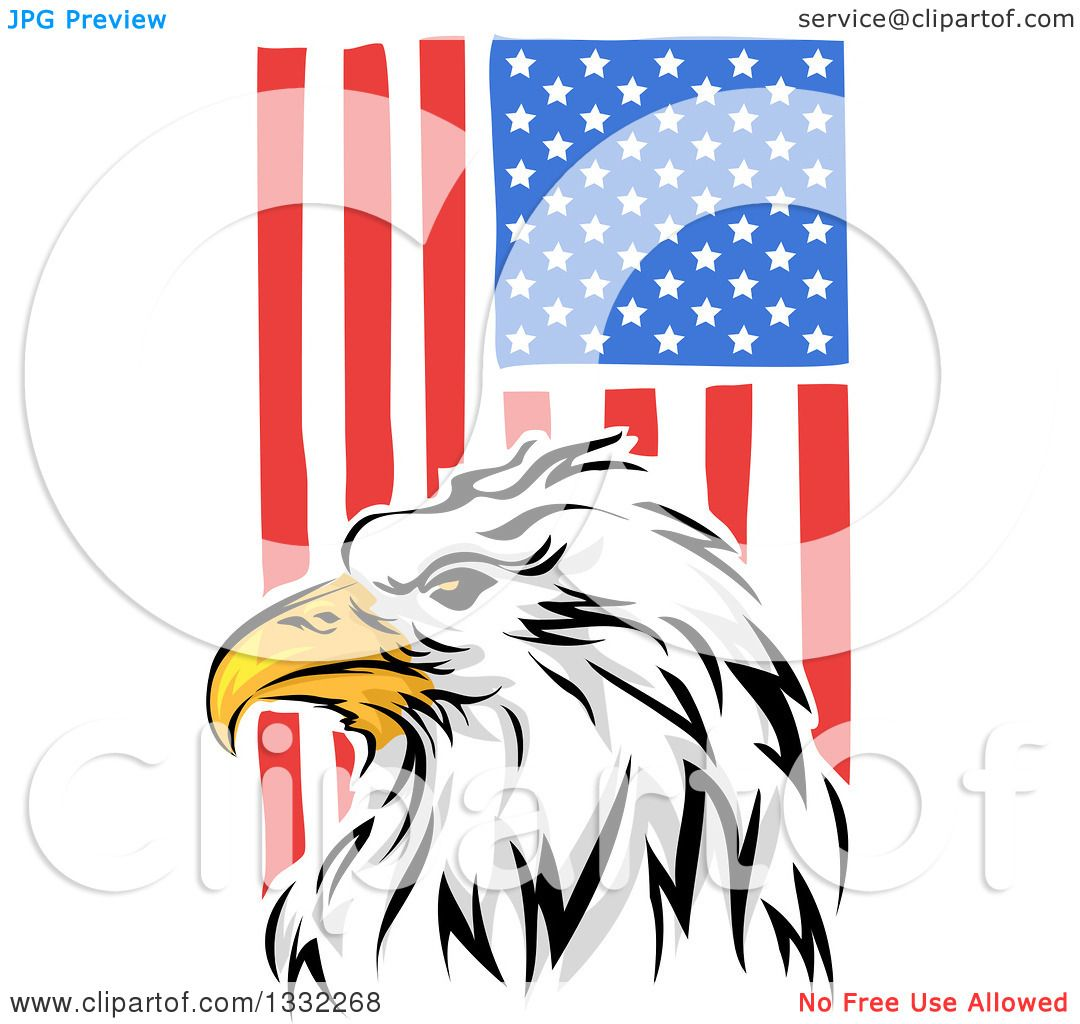 1080x1024 Clipart Of A Painted Bald Eagle Head Over A Vertical American Flag