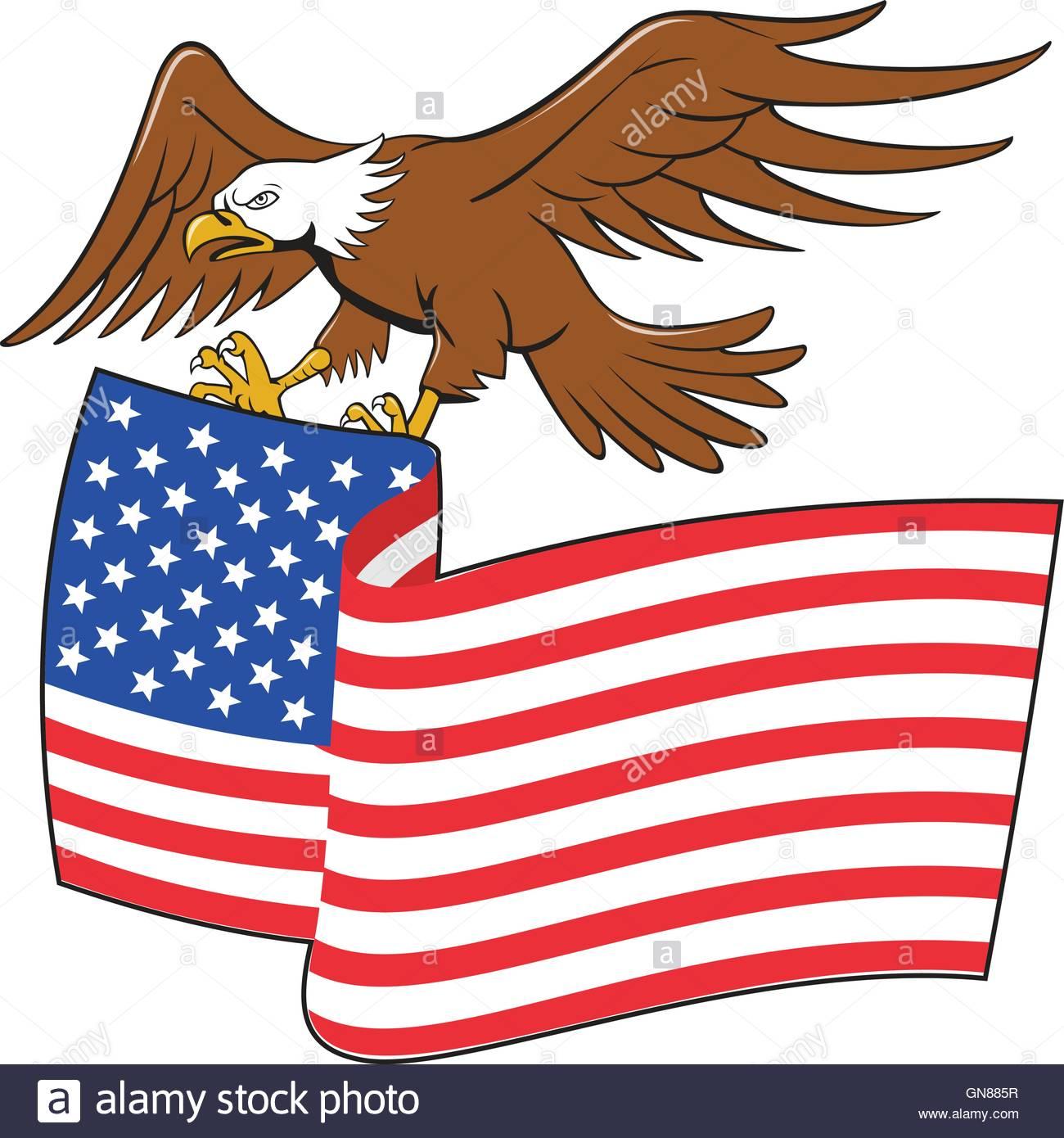 1300x1390 American Bald Eagle Carrying Usa Flag Cartoon Stock Vector Art