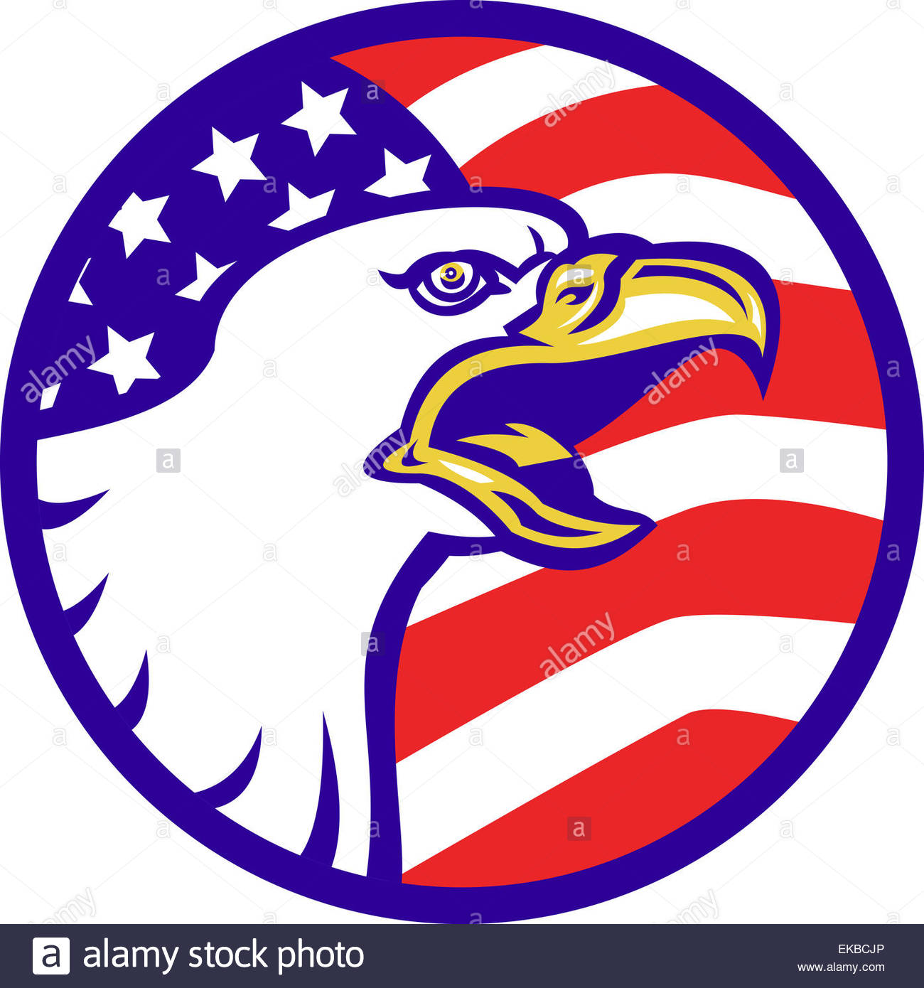 1300x1390 American Bald Eagle Screaming With Usa Flag Stock Photo 80771342