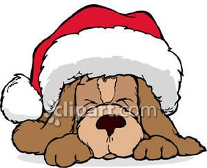 300x244 Bulldog Santa Hat Clipart