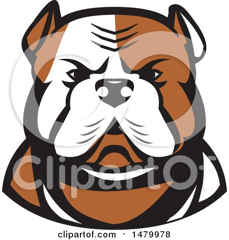 450x470 Clipart Of A Tough American Bulldog Head In Tan And White