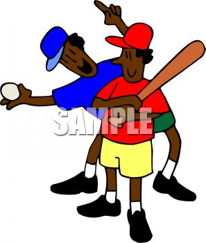 297x350 Cartoon Of An African American Boy And His Dad Playing Baseball